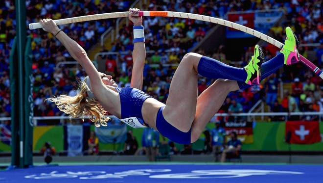 Aug 16, 2016; Rio de Janeiro, Brazil;  Sandi Morris (USA) during the women's pole vault preliminaries in the Rio 2016 Summer Olympic Games at Estadio Olimpico Joao Havelange. Mandatory Credit: Kirby Lee-USA TODAY Sports