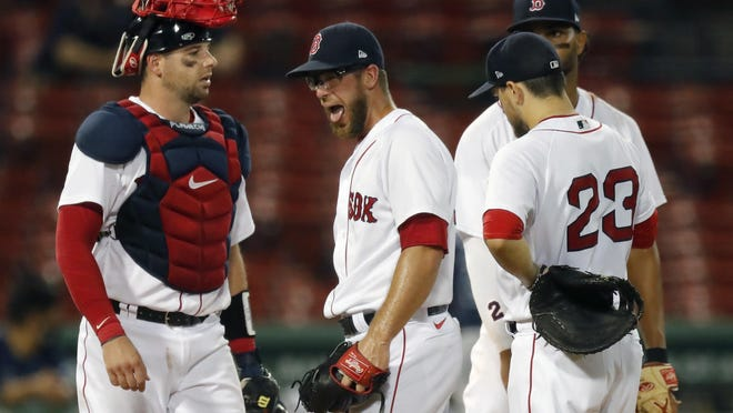 Marcus Walden's reaction reflects the mood of the Red Sox pitching staff Monday night.