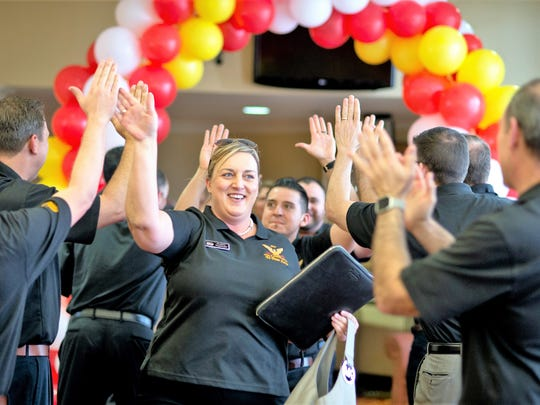 Desiree Yzquierdo, Frito-Lay El Paso Zone director, enter's the company's April 26 celebration for the 230-employee zone winning Frito-Lay's Zone of the Year award for 2017.