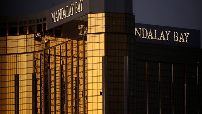 The Mandalay Bay Resort on Oct. 3, 2017, in Las Vegas. Authorities said Stephen Craig Paddock broke the windows in his rooms there and began firing with a cache of weapons, killing dozens and injuring hundreds.