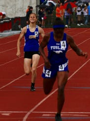 Clyde's Hayley Robinett competes in the 400 at state