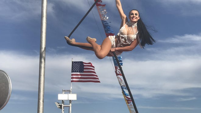 Katherina Obando of Ukraine is pictured performing an act called the Spanish aerial web at an earlier show of the drive-in circus in Brownwood.