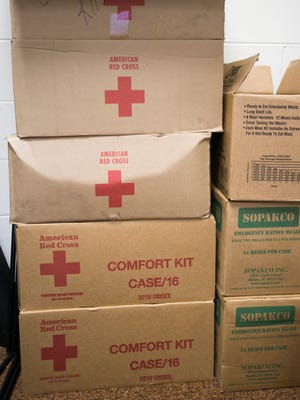 Comfort kits are stored and ready at the Northwest Chapter of the American Red Cross in Pensacola on Thursday, September 7, 2017.
