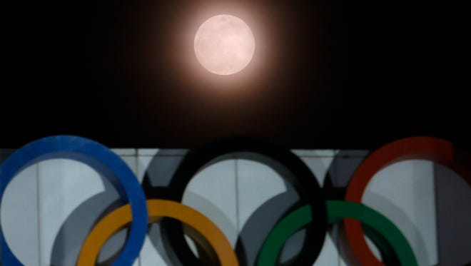 Super blue blood moon at the Olympic Park in Seoul, South Korea on Wednesday.