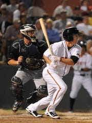 In 2011, Ty Kelly represented the Shorebirds in the SAL All-Star Game. In this photo, he drives in a run in the bottom on the sixth inning of that game