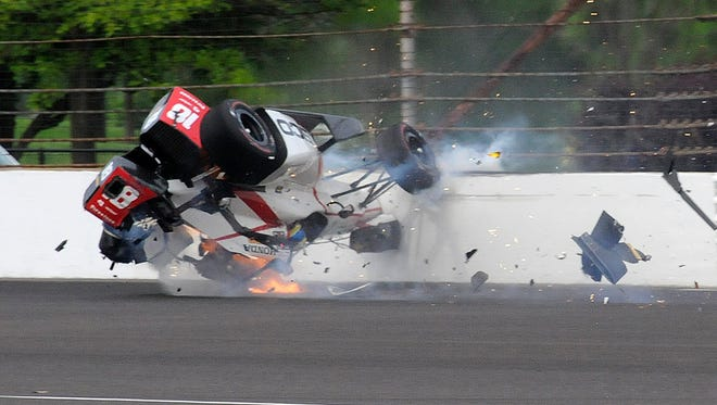 The car driven by Sebastien Bourdais struck the wall in the second turn during qualifications for the Indianapolis 500 on May 20, 2017.