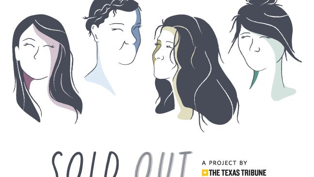 Caricatures of Jean, Lena, Yvette and Sarah as featured in the Texas Tribune Sold Out series on sex trafficking in Texas cities.