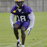 LSU cornerback Tre'Davious White (18) works out during practice. White wants the 2015 LSU defense to be more like the 2011 Tiger defense.