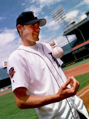 Tigers first overall selection in the draft, Matt Anderson, tosses a ball as he tours Tiger Stadium on June 3, 1997. He was a First Team All-American pitcher from Rice University.