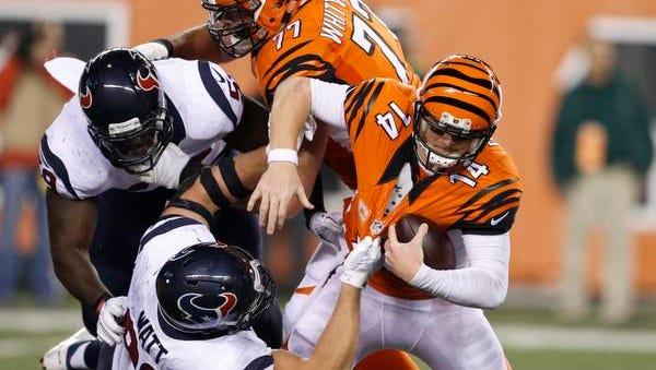 Houston Texans defensive end J.J. Watt (99) sacks Cincinnati Bengals quarterback Andy Dalton (14) in Cincinnati on Monday, Nov. 16, 2015.