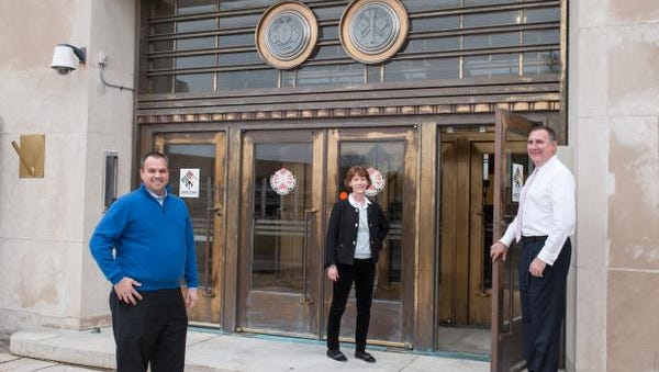 TetherView, a turnkey private cloud provider, recently started operating out of the old Russel Hall building at the closed Fort Monmouth in Oceanport, NJ. Outside the main entrance are from left: Michael Abboud, CEO,  Mary Donnelly, Director of Marketing, and Peter Calistri, Chief Operating Officer. Photo was taken on Tuesday, January 12, 2016.