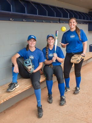 Softball outfielder Rachel Wright, left to right, shortstop Rhiannon Sassman, and pitcher Becca Taylor pose at the University of West Florida in Pensacola on Friday, March 24, 2017.