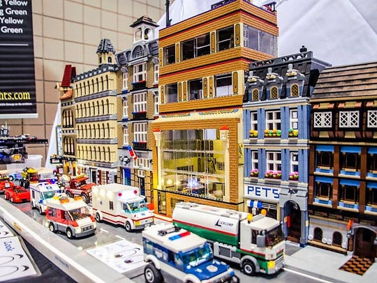 This city scene is built entirely out of LEGO bricks.