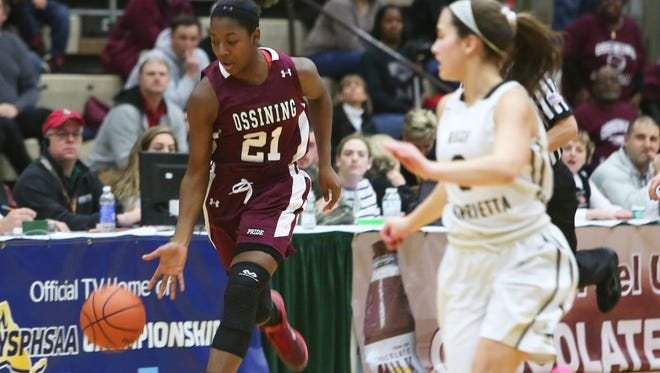 Ossining defeated Rush Henrietta 76-54 to win the girls state Class AA championship game at Hudson Valley Community College in Troy, N.Y. March 21, 2015.