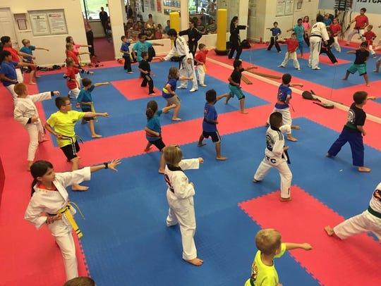 Kids practicing Taekwondo at K.T.C. in Stafford.
