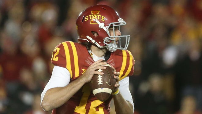 Sam Richardson looks to pass during the Iowa State's game against TCU on Oct. 17.