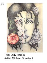Lady Heroin by Michael Donatoni, a submission in a 2015 heroin and opioid awareness art contest sponsored by the U.S. Drug Enforcement Administration and addiction prevention advocates