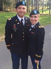 Jordan Allen and her husband, Seth at a Fort Polk ceremony.
