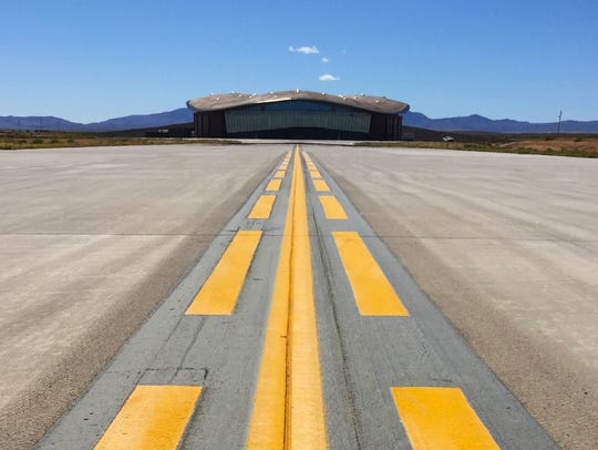 The main hangar and runway at Spaceport America near