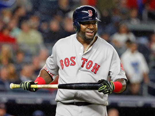 FILE - In this Sept. 28, 2016, file photo, Boston Red Sox designated hitter David Ortiz reacts after flying out in a baseball game against the New York Yankees in New York. Hall of Famers Nolan Ryan and Barry Larkin along with recently retired Ortiz are among the investors in Dugout Ventures, a new private equity group that says it will support baseball-focused companies. (AP Photo/Kathy Willens, File)
