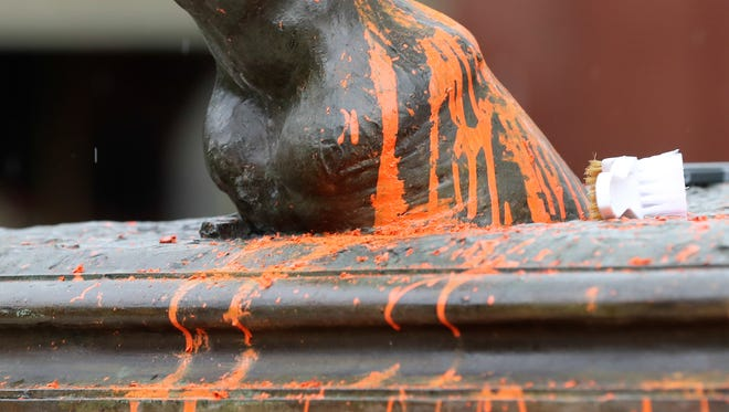 Paint on the John B. Castleman statue in the Highlands in August.