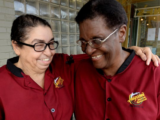 High school friends Pearlie Jones and Lillie Parker have worked together at Lasyone's Famous Meat Pies & Crawfish Pies, Natchitoches, for many years. They have been recognized for service to the restaurant industry by Natchitoches Area Convention and Visitors Bureau.
