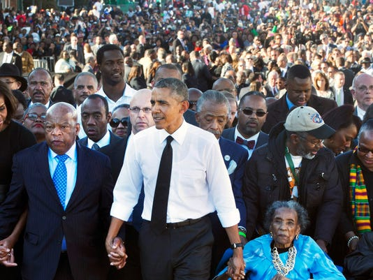 Barack Obama, Michelle Obama, Malia Obama, Sasha Obama, John Lewis, Amelia Boynton Robinson, Adelaide Sanford