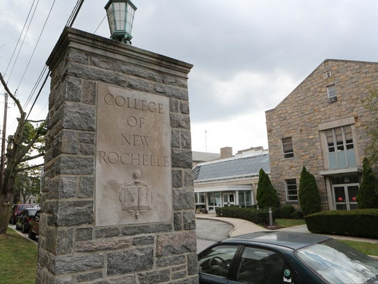 The entrance to The College of New Rochelle, pictured
