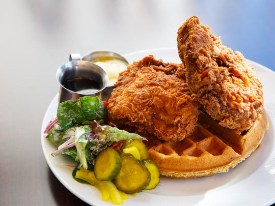 Chicken and waffles from Bubba on Wednesday, Feb. 15, 2017.