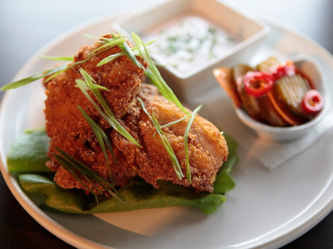 Corn Flake Boneless Fried Chicken with Buttermilk Ranch Dressing and House made pickles at Social 162 in Nyack.