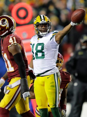 The Packers' Randall Cobb celebrates a first down reception during a game against the Washington Redskins on Nov. 20 at FedEx Field in Landover, Maryland.