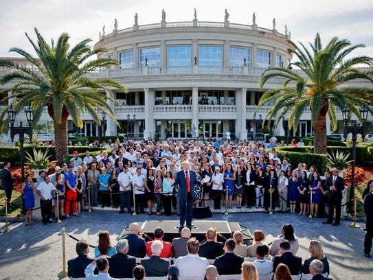 President Trump speaks as the Republican nominee during the campaign at Oct. 25, 2016 shows then Republican nominee at Trump National Doral Golf Club in Miami.
