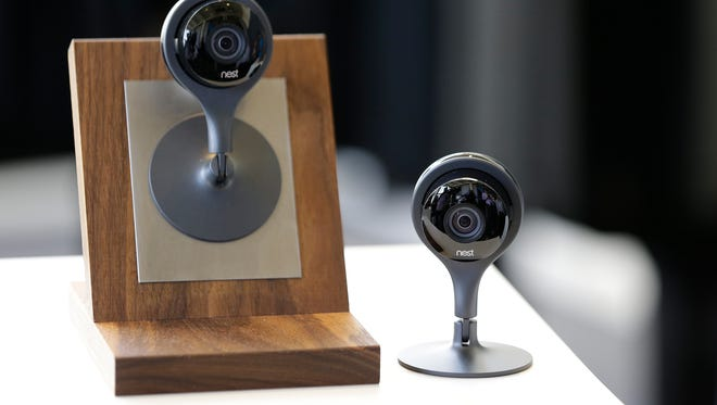 The Nest Cam surveillance video camera is on display following a news conference in San Francisco.