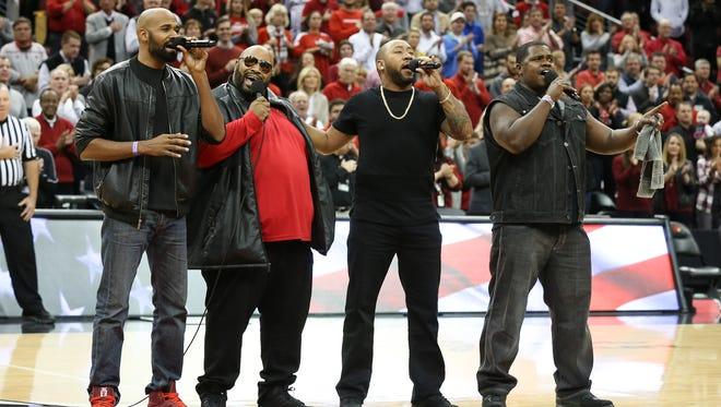 Linkin Bridge sang the national anthem during the U of L-Purdue game at the KFC Yum! Center.  Nov. 30, 2016