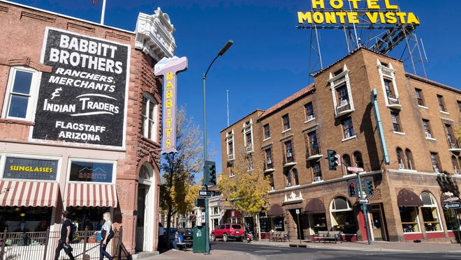 Corner of Aspen Ave. and San Francisco Street in historic downtown Flagstaff, Arizona.