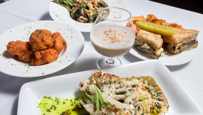 Skopelos will be presenting more vegan dishes each Sunday. Pictured clockwise from left are dishes introduced in October: Popcorn Cauliflower Bites, Mushroom Lumache, Mushroom Reuben, and Grilled Cauliflower Steak, along with a Chia Seed Pudding, center.