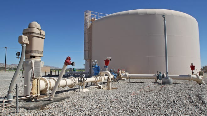 The well and reservoir at the Coachella Valley Water District's ion exchange water treatment plant near Mecca.