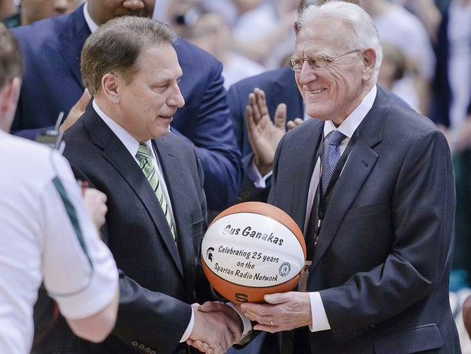 Tom Izzo (left) congratulated former MSU coach Gus