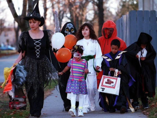 In this 1999 file photo, a sampler of scary characters