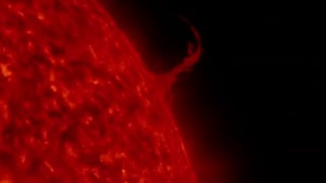 A massive plume of plasma erupts off the surface of the sun earlier this month.