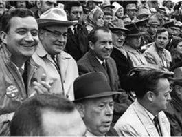 "President Richard Nixon in attendance of ""The Game of the Century."" Texas beat Arkansas 15-14."