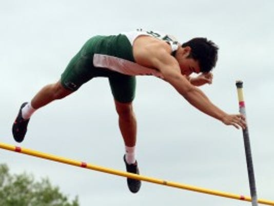 Delbarton's Peter Chan  clears 12 feet at the Morris County Championships. (Staff photo by Bob Karp/Daily Record)