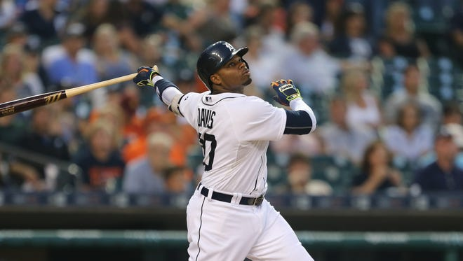 Tigers leftfielder Rajai Davis homers during the third inning Tuesday at Comerica Park.
