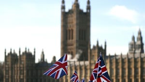 British Union flags fly in front of The Houses of Parliament in London, Jan. 22, 2019. British Prime Minister Theresa May launched a mission to resuscitate her rejected European Union Brexit divorce deal, setting out plans to get it approved by Parliament.