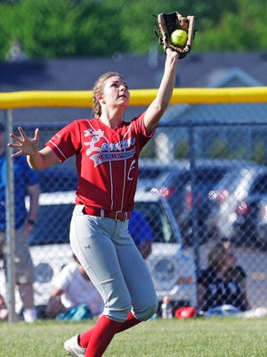 Manitowoc Lutheran's Madison Gorte (6) catches a hit from Weyauwega-Fremont, Thursday, May 31, 2018, in Neenah, Wis.