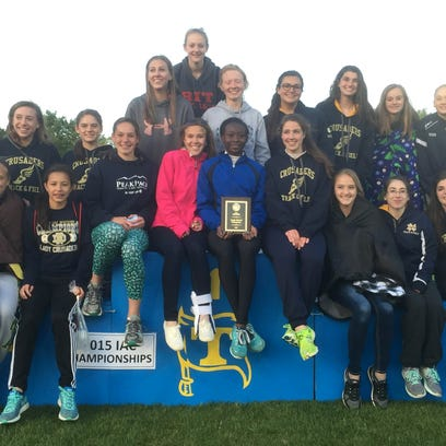 The Notre Dame girls track and field team with its