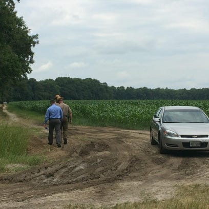 The scene outside a death investigation on Snethen Church Road in Mardela Springs on Monday, July 27, 2015.