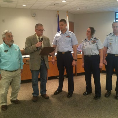 Sturgeon Bay Mayor Thad Birmingham made a proclamation supporting National Boater Safety Week May 21-27 during Tuesday's city council meeting. Canal Station BM1 Benjamin Westerfield accepted the proclamation along with USCG Auxiliary members Kathy and Commander Jerry Haegele and Commander Bob DeNoto from the Sturgeon Bay Power Squadron.