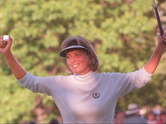 Dottie Pepper celebrates winning the LPGA in 1996.