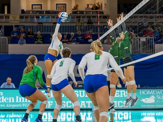 Despite again being hampered by injury, junior Amanda Carroll is now FGCU's all-time kills leader. Her 420 this season ranks second in the ASUN.